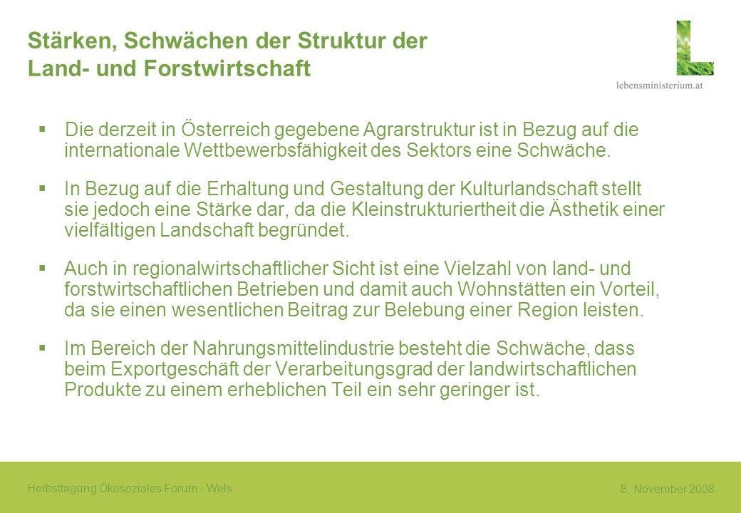 Stärken, Schwächen der Struktur der Land- und Forstwirtschaft