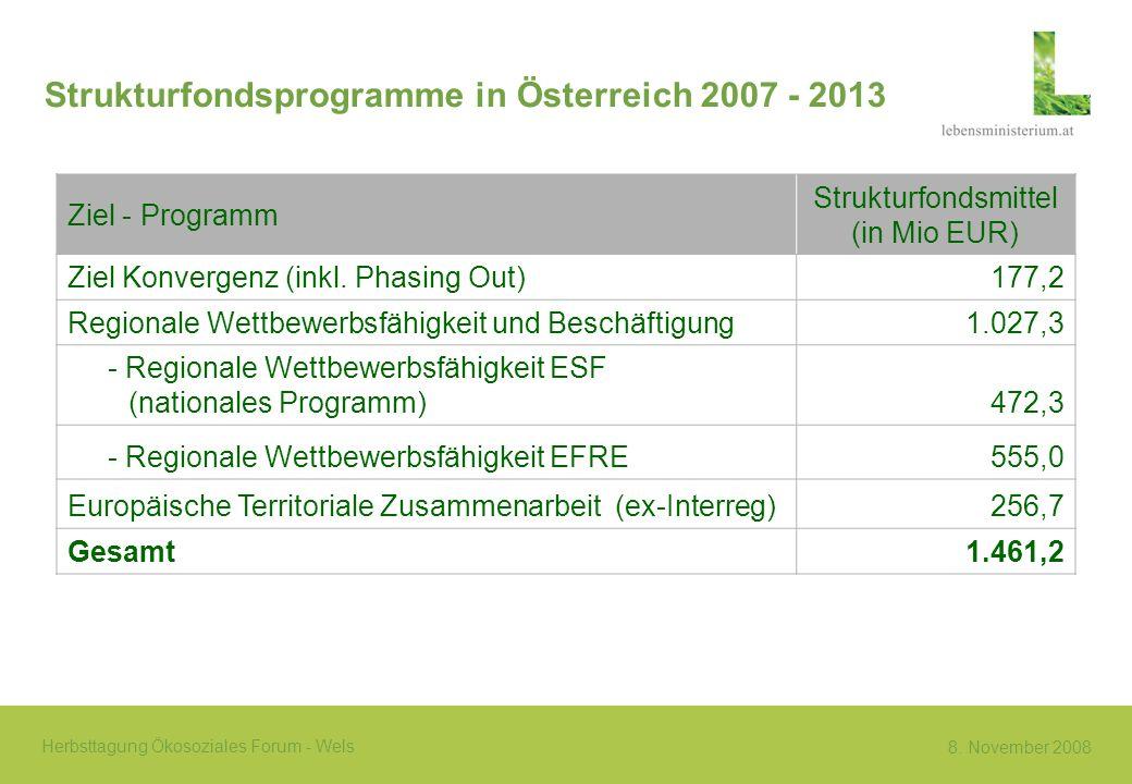 Strukturfondsprogramme in Österreich 2007 - 2013
