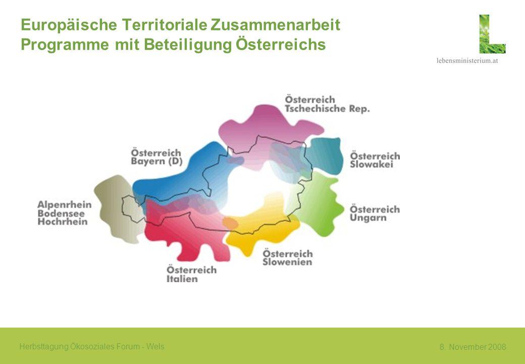 Europäische Territoriale Zusammenarbeit Programme mit Beteiligung Österreichs