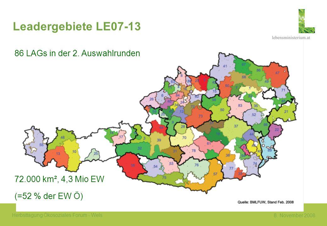 Leadergebiete LE07-13 86 LAGs in der 2. Auswahlrunden