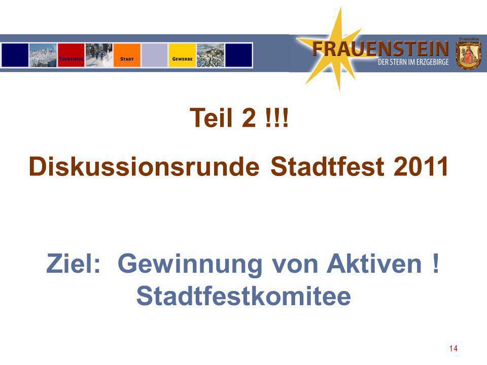 Diskussionsrunde Stadtfest 2011 Ziel: Gewinnung von Aktiven !