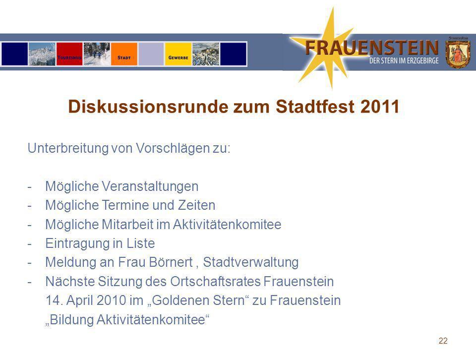Diskussionsrunde zum Stadtfest 2011