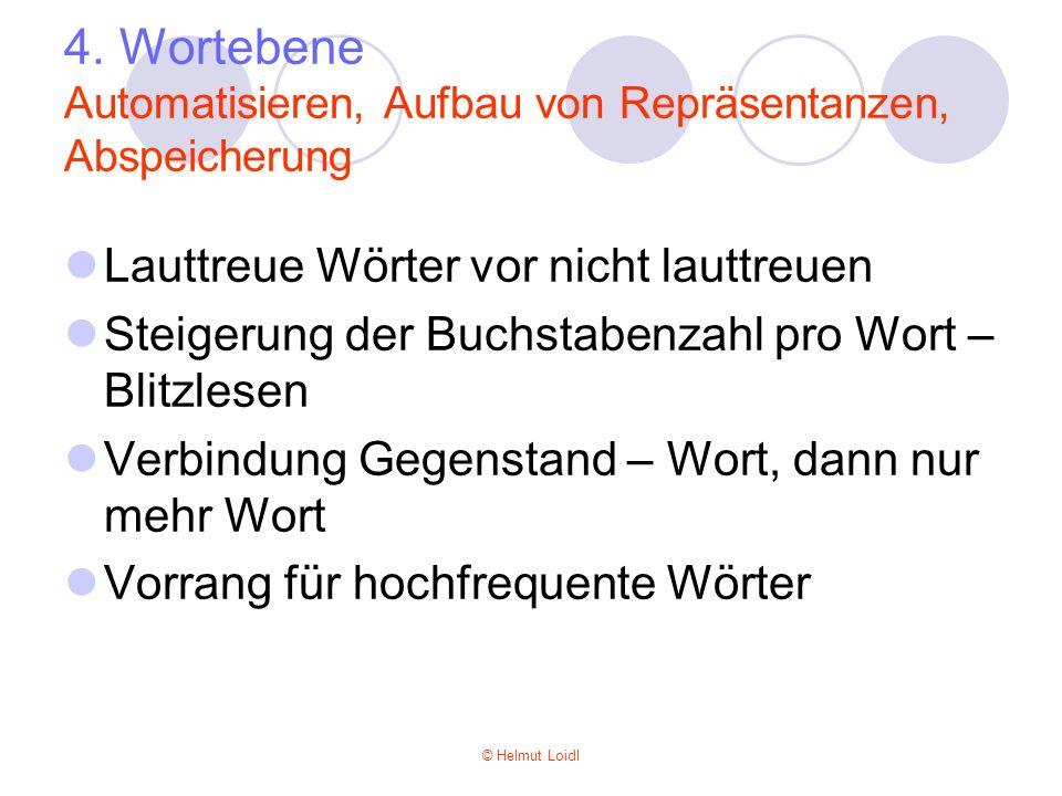 4. Wortebene Automatisieren, Aufbau von Repräsentanzen, Abspeicherung