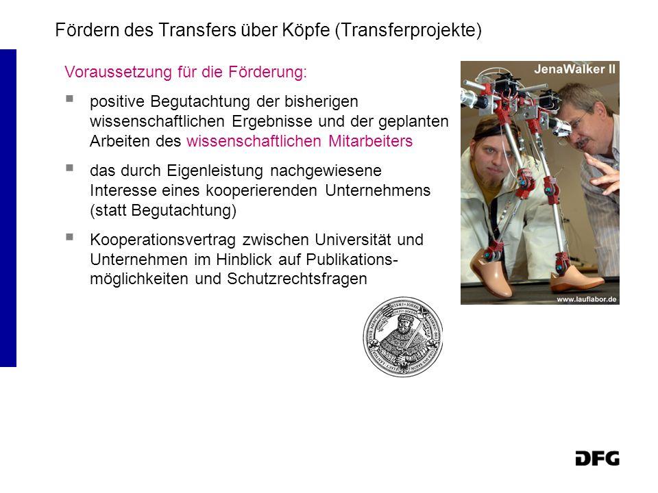 Fördern des Transfers über Köpfe (Transferprojekte)