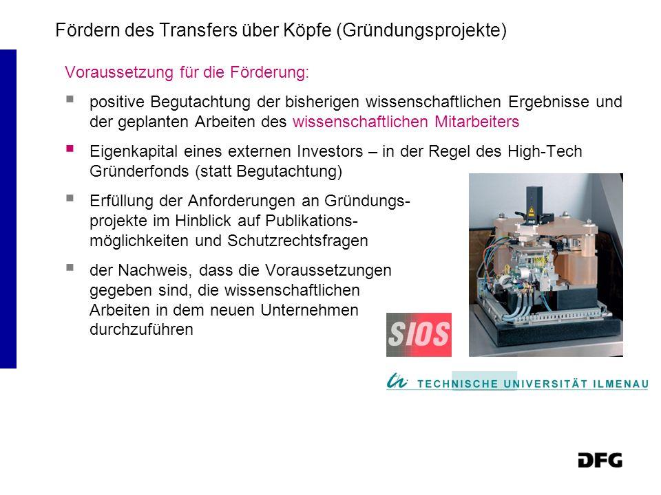 Fördern des Transfers über Köpfe (Gründungsprojekte)