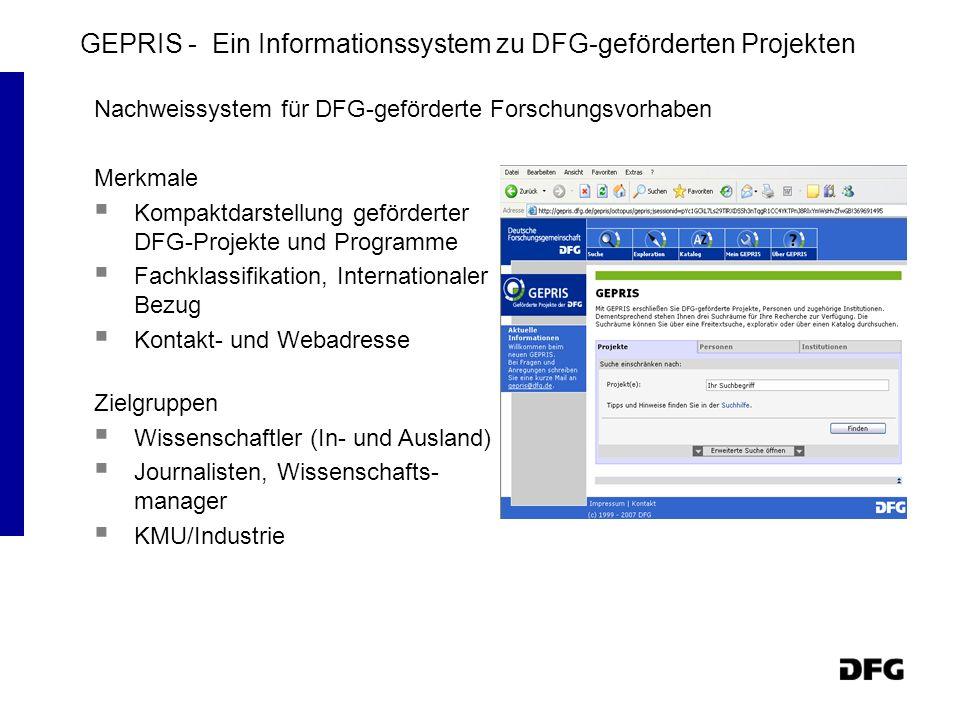 GEPRIS - Ein Informationssystem zu DFG-geförderten Projekten