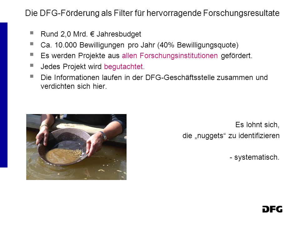 Die DFG-Förderung als Filter für hervorragende Forschungsresultate