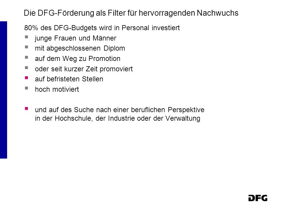 Die DFG-Förderung als Filter für hervorragenden Nachwuchs