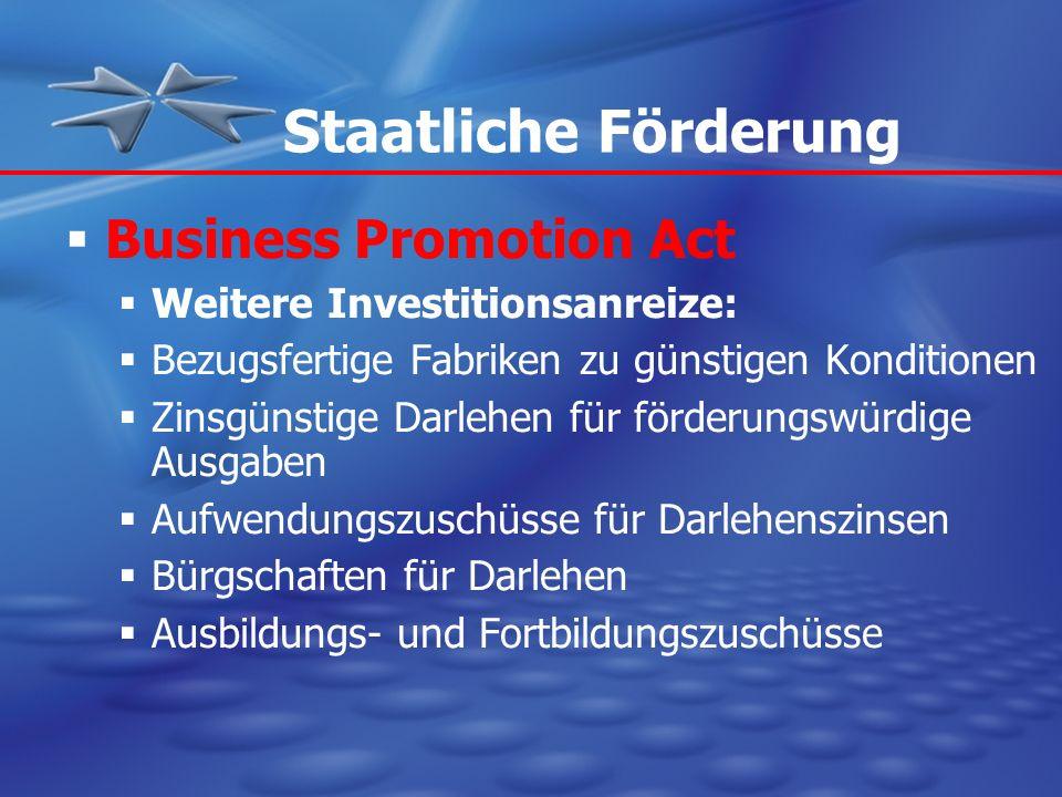 Staatliche Förderung Business Promotion Act