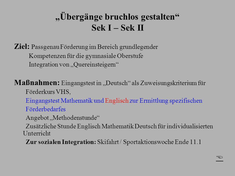 """""""Übergänge bruchlos gestalten Sek I – Sek II"""