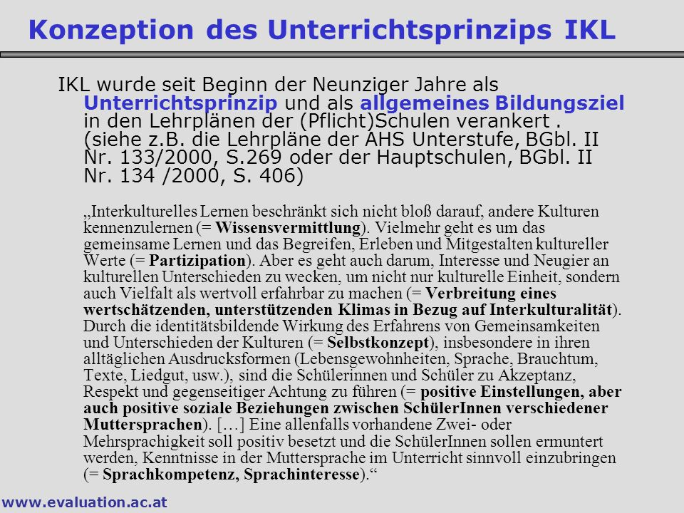 Konzeption des Unterrichtsprinzips IKL