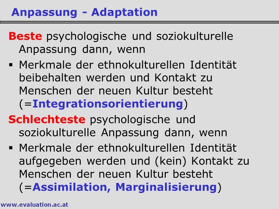 Anpassung - Adaptation