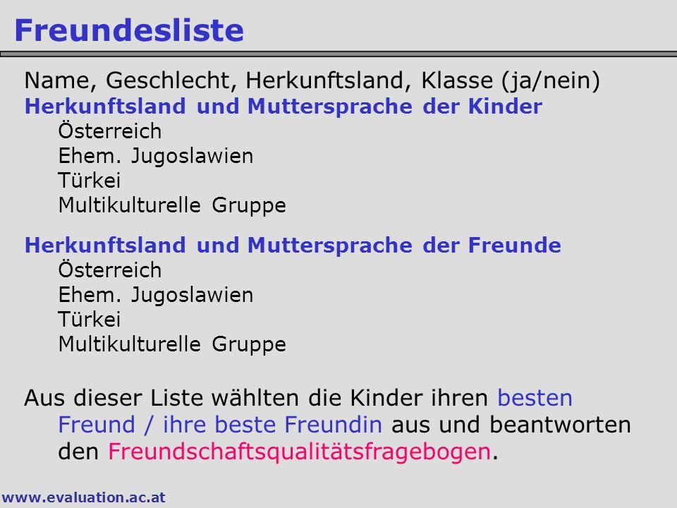 Freundesliste Name, Geschlecht, Herkunftsland, Klasse (ja/nein)