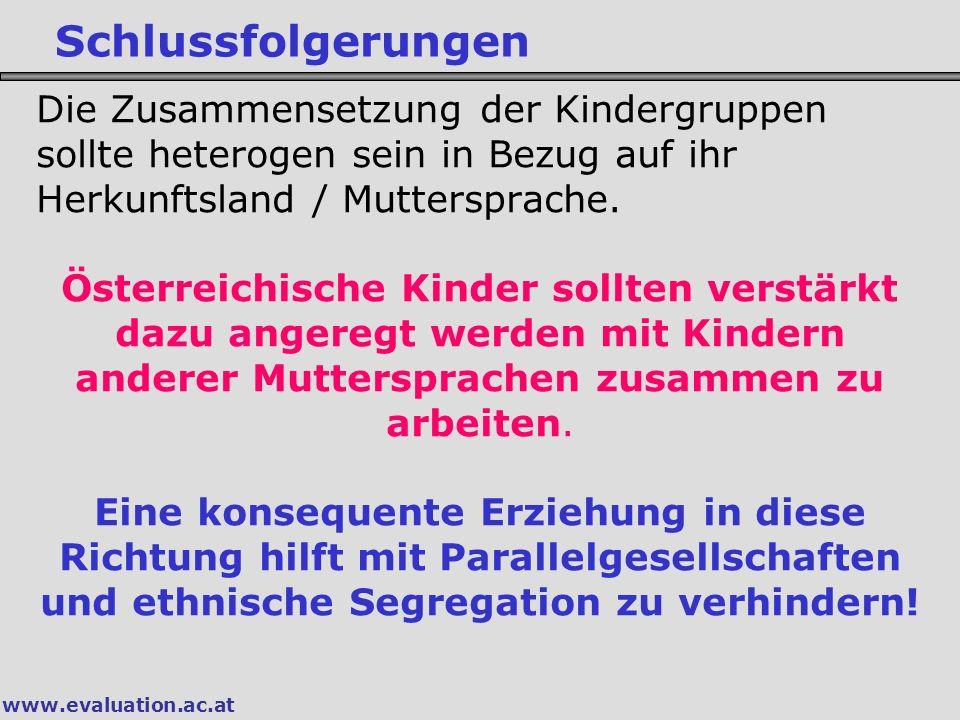 Schlussfolgerungen Die Zusammensetzung der Kindergruppen sollte heterogen sein in Bezug auf ihr Herkunftsland / Muttersprache.