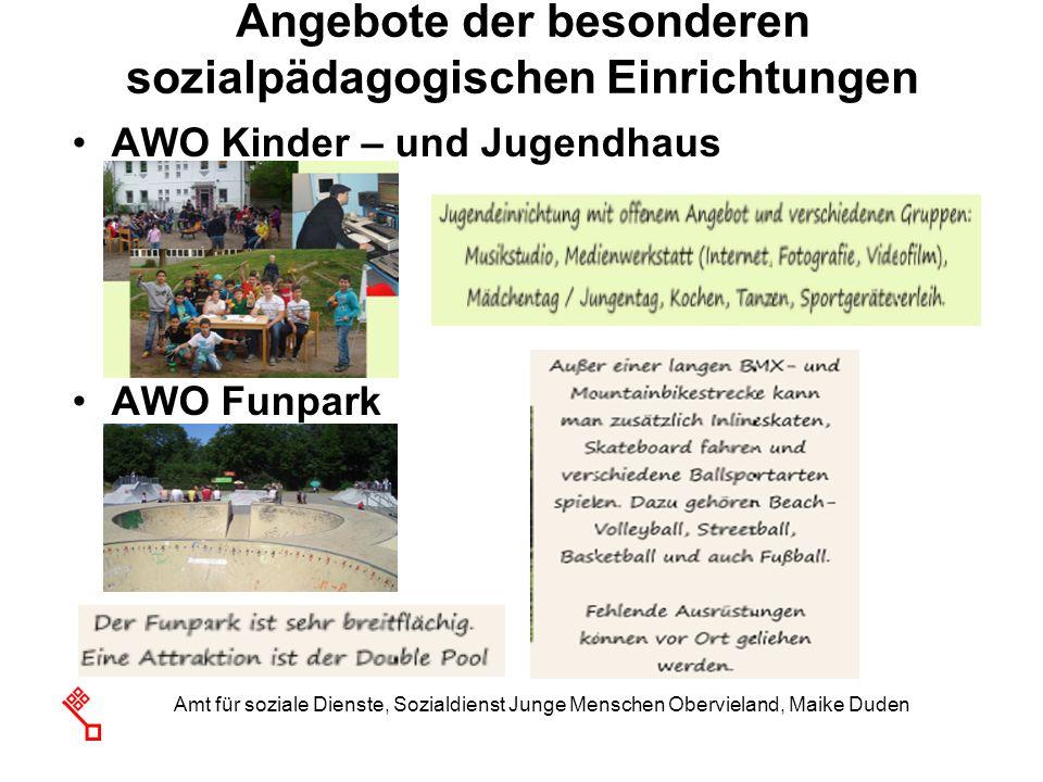 Angebote der besonderen sozialpädagogischen Einrichtungen