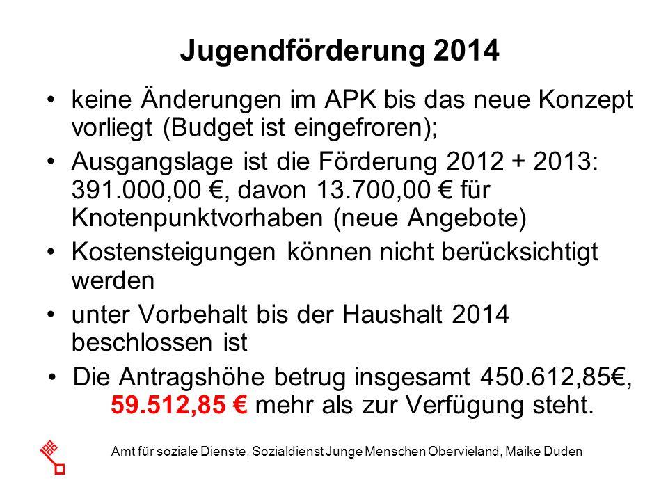 Jugendförderung 2014keine Änderungen im APK bis das neue Konzept vorliegt (Budget ist eingefroren);