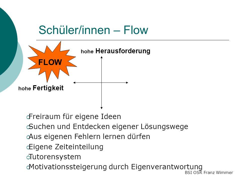 Schüler/innen – Flow FLOW Freiraum für eigene Ideen