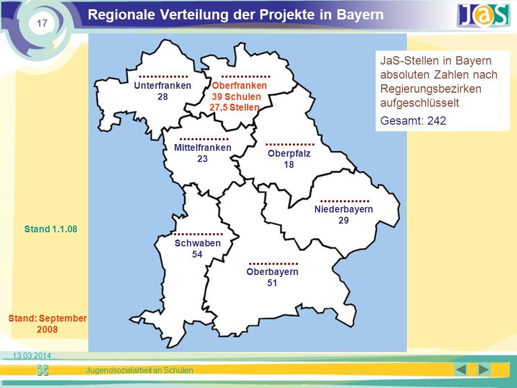 Regionale Verteilung der Projekte in Bayern