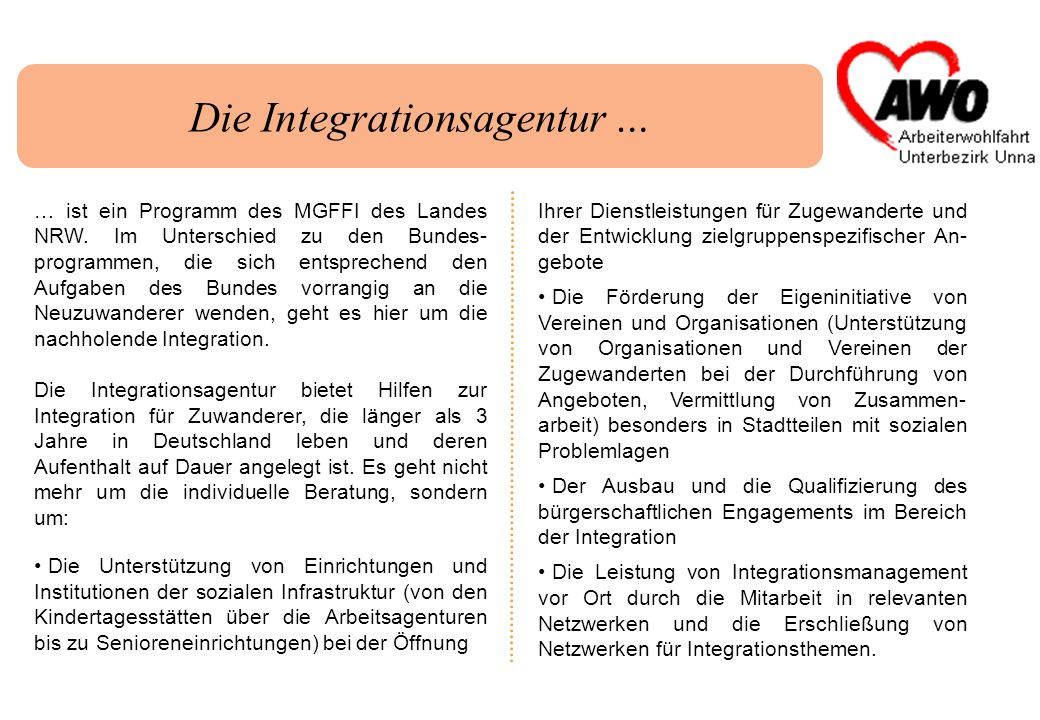 Die Integrationsagentur …