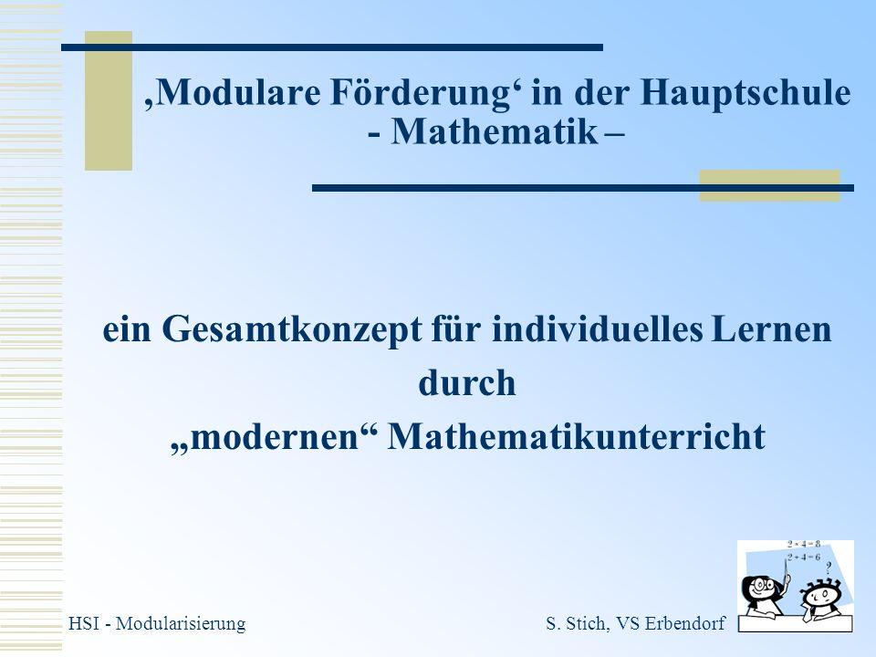 'Modulare Förderung' in der Hauptschule - Mathematik –