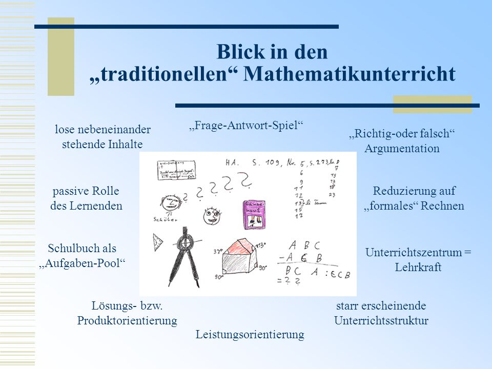 "Blick in den ""traditionellen Mathematikunterricht"