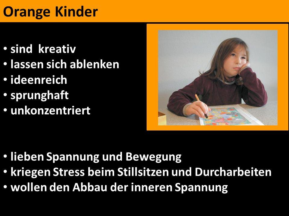 Orange Kinder sind kreativ lassen sich ablenken ideenreich sprunghaft