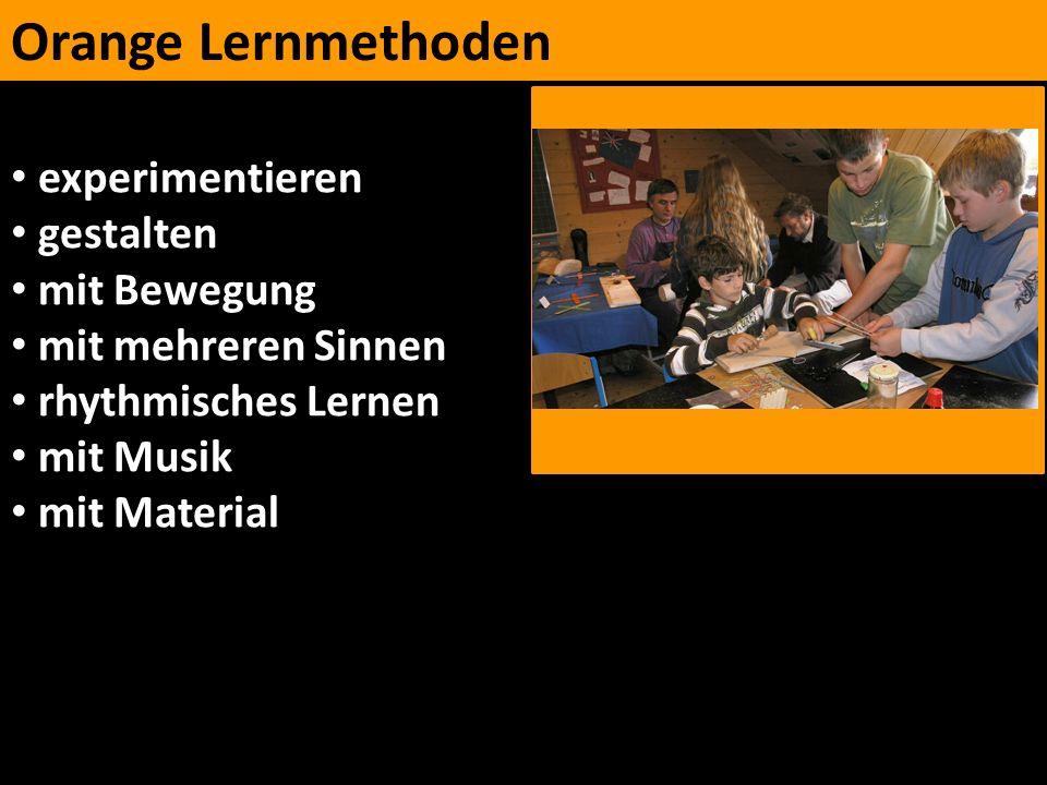 Orange Lernmethoden experimentieren gestalten mit Bewegung