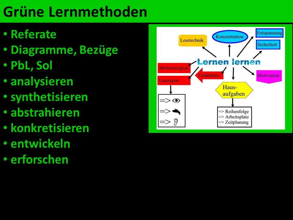 Grüne Lernmethoden Referate Diagramme, Bezüge PbL, Sol analysieren