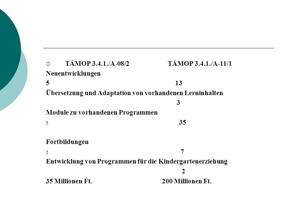 TÁMOP 3.4.1./A-08/2 TÁMOP 3.4.1./A-11/1 Neuentwicklungen.