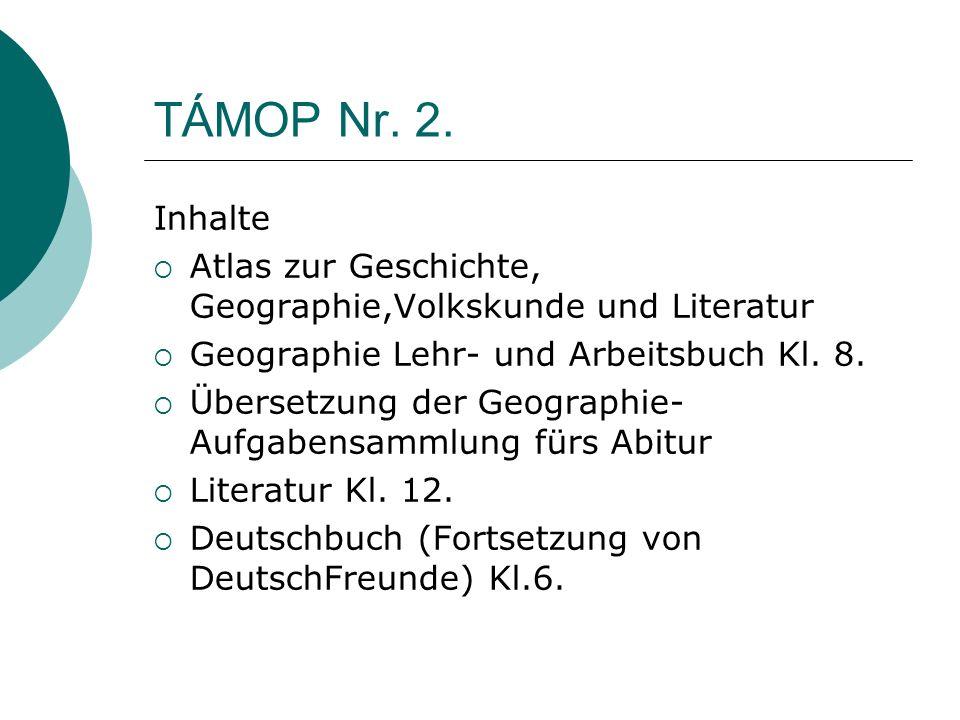TÁMOP Nr. 2. Inhalte. Atlas zur Geschichte, Geographie,Volkskunde und Literatur. Geographie Lehr- und Arbeitsbuch Kl. 8.
