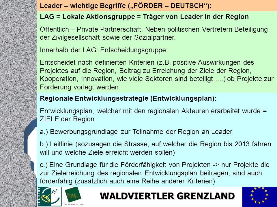 """Leader – wichtige Begriffe (""""FÖRDER – DEUTSCH ):"""