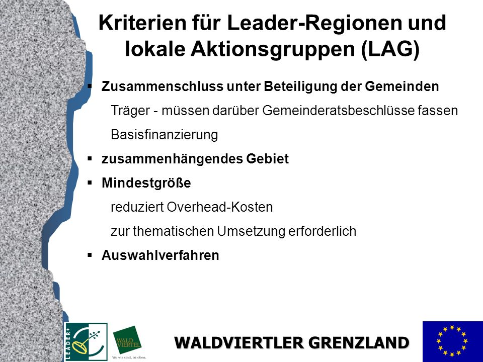 Kriterien für Leader-Regionen und lokale Aktionsgruppen (LAG)