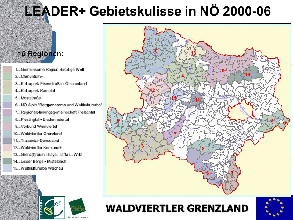 LEADER+ Gebietskulisse in NÖ 2000-06