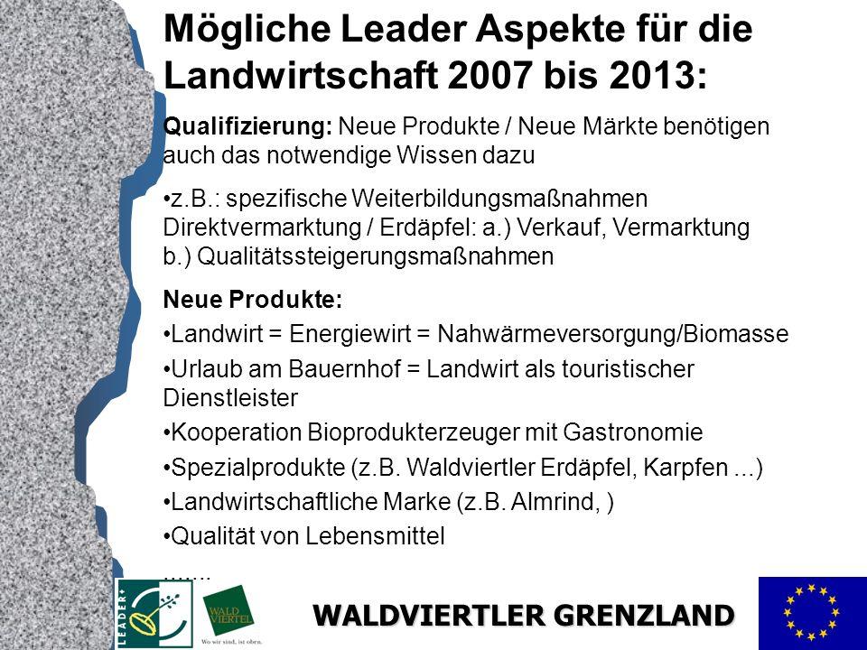 Mögliche Leader Aspekte für die Landwirtschaft 2007 bis 2013: