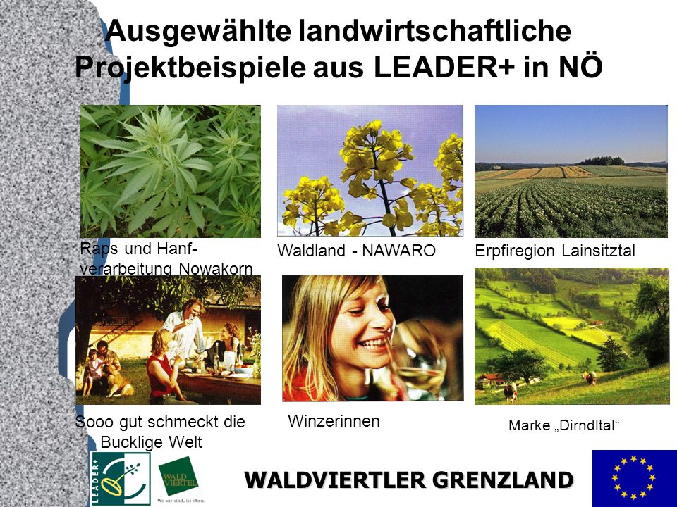 Ausgewählte landwirtschaftliche Projektbeispiele aus LEADER+ in NÖ