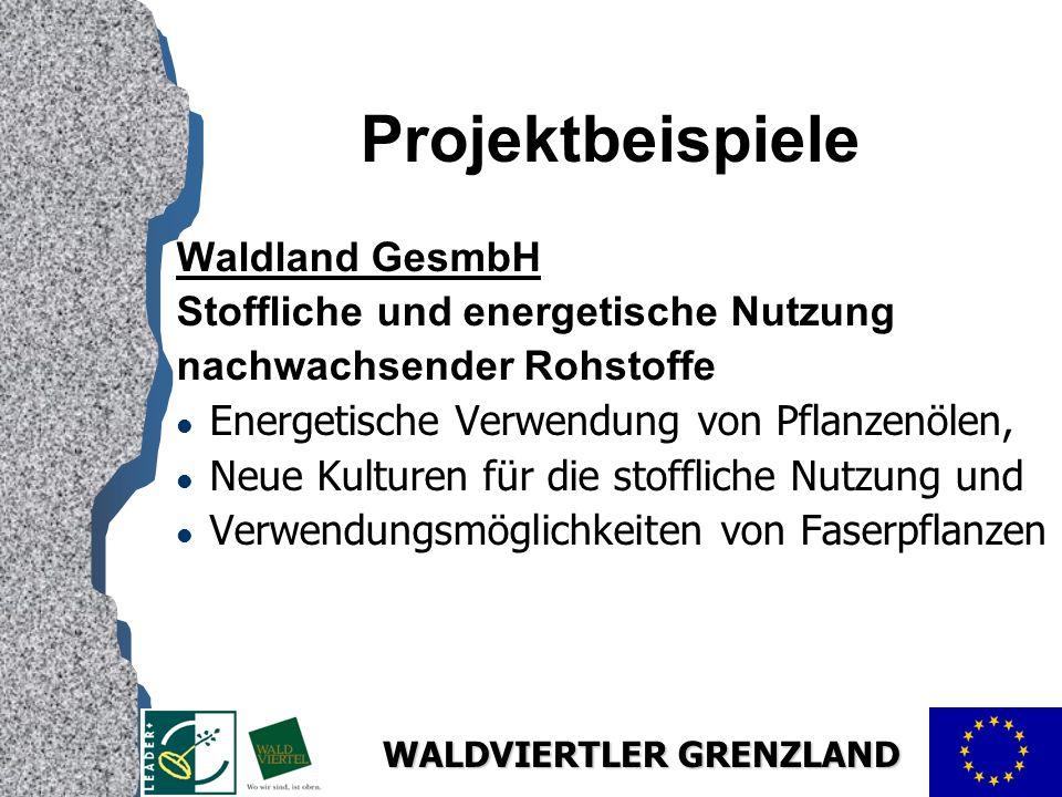 Projektbeispiele Waldland GesmbH Stoffliche und energetische Nutzung