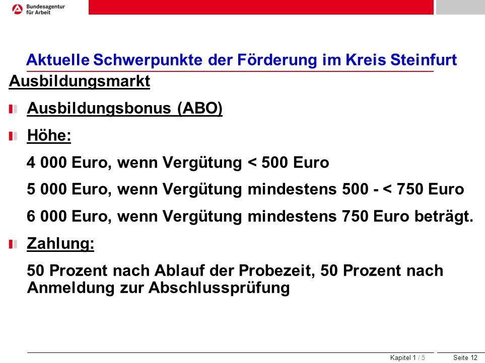 Aktuelle Schwerpunkte der Förderung im Kreis Steinfurt