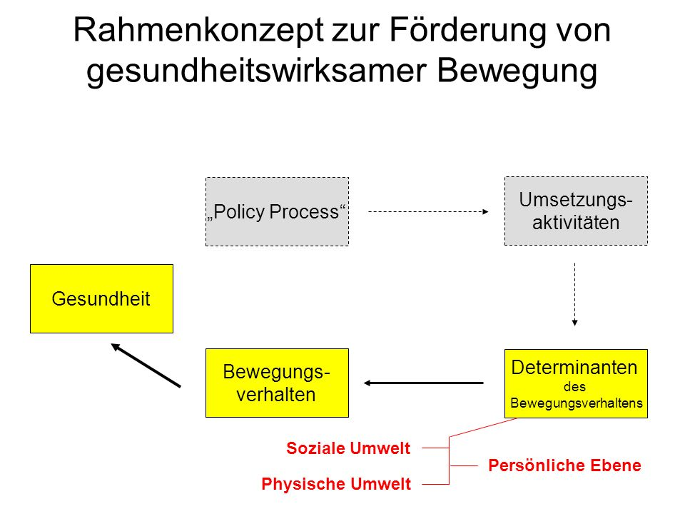 Rahmenkonzept zur Förderung von gesundheitswirksamer Bewegung