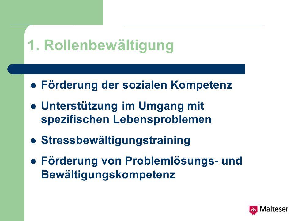 1. Rollenbewältigung Förderung der sozialen Kompetenz