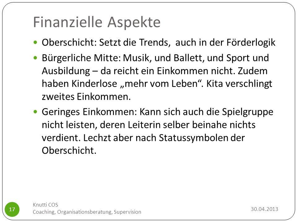 Finanzielle Aspekte Oberschicht: Setzt die Trends, auch in der Förderlogik.
