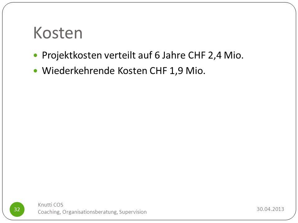Kosten Projektkosten verteilt auf 6 Jahre CHF 2,4 Mio.