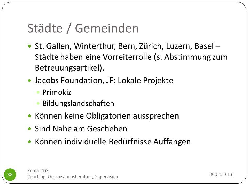 Städte / Gemeinden St. Gallen, Winterthur, Bern, Zürich, Luzern, Basel – Städte haben eine Vorreiterrolle (s. Abstimmung zum Betreuungsartikel).