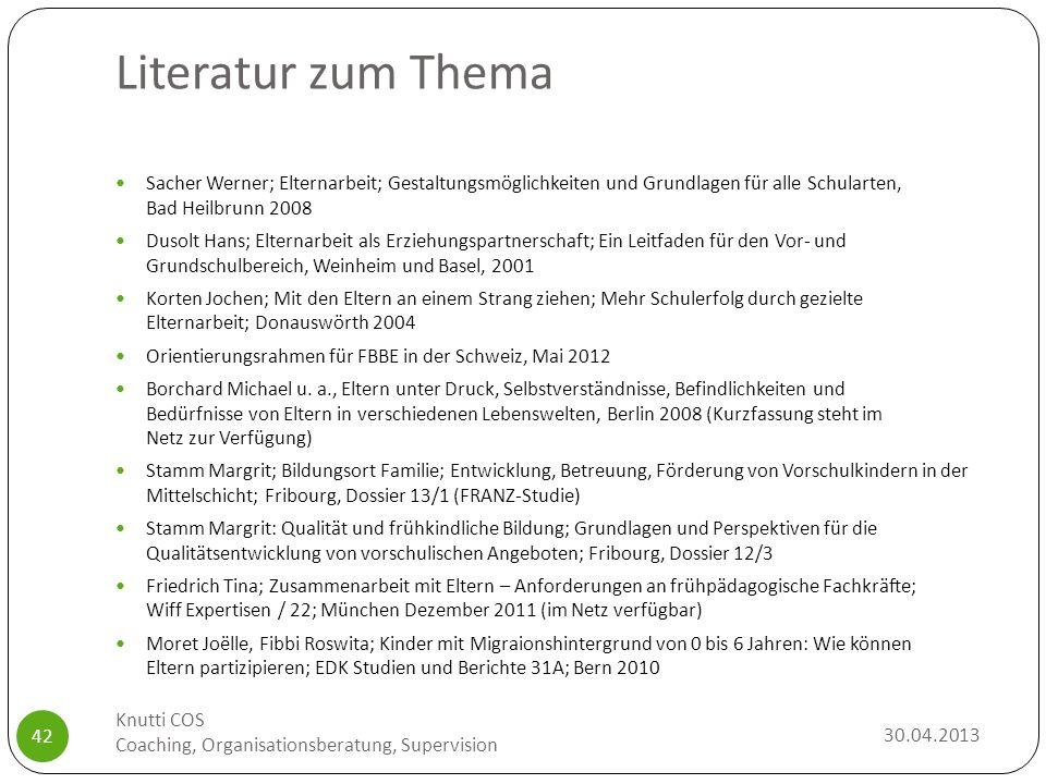 Literatur zum Thema Sacher Werner; Elternarbeit; Gestaltungsmöglichkeiten und Grundlagen für alle Schularten, Bad Heilbrunn 2008.