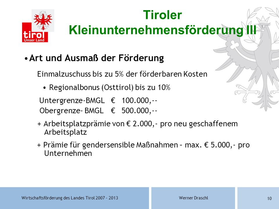 Tiroler Kleinunternehmensförderung III