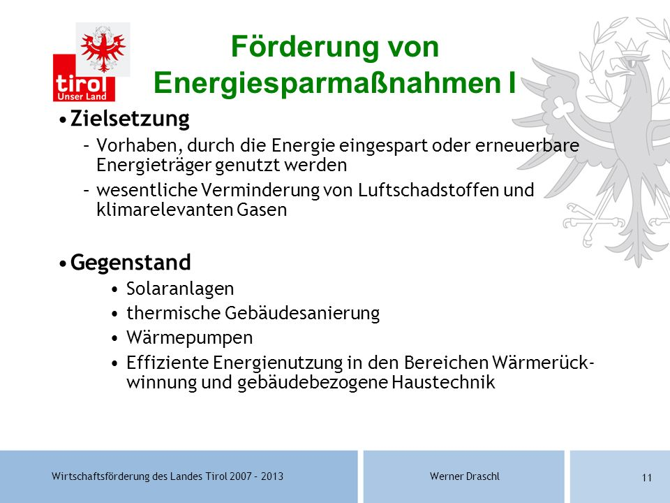 Förderung von Energiesparmaßnahmen I