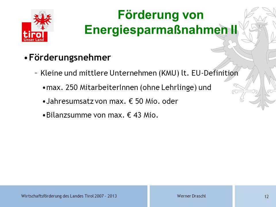 Förderung von Energiesparmaßnahmen II