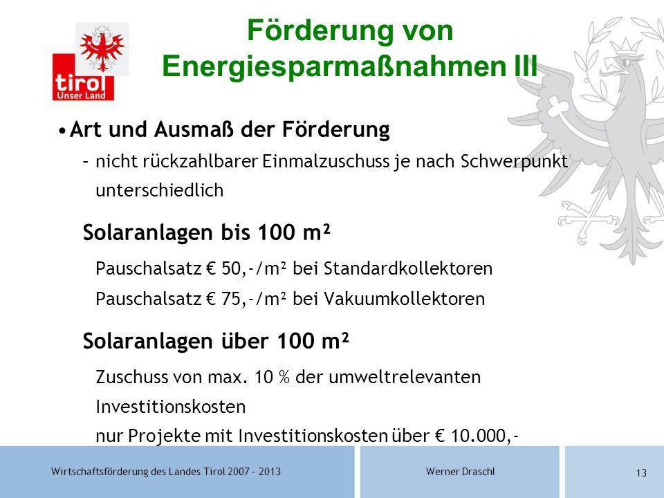 Förderung von Energiesparmaßnahmen III