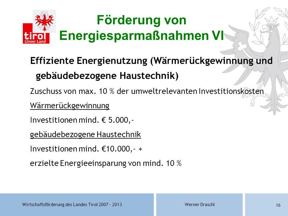 Förderung von Energiesparmaßnahmen VI