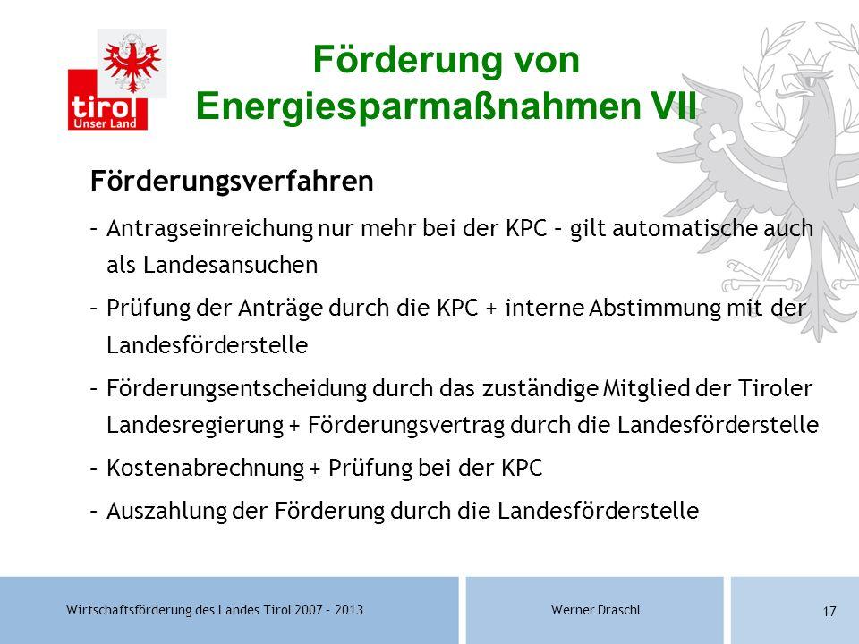 Förderung von Energiesparmaßnahmen VII