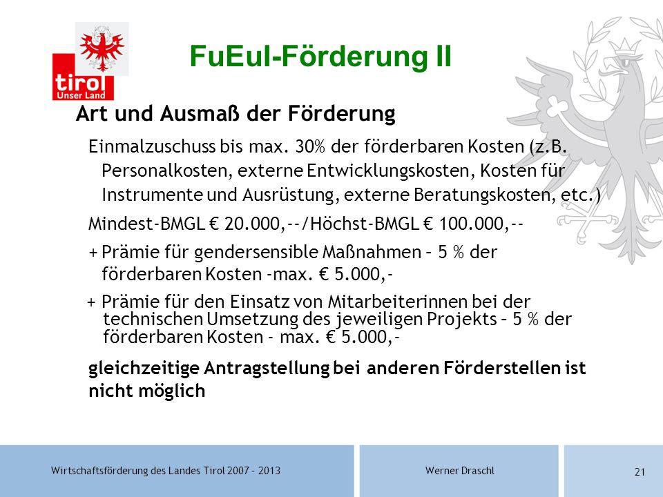 FuEuI-Förderung II Art und Ausmaß der Förderung